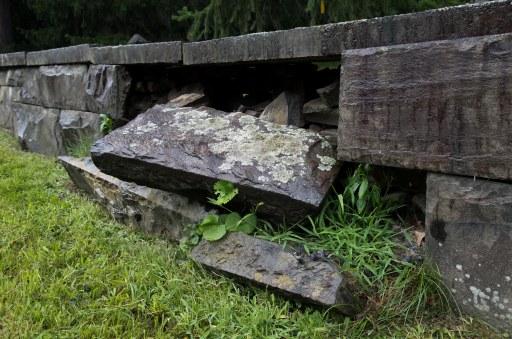 fallen stone wall