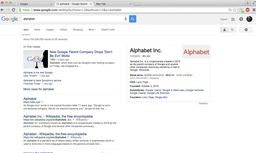 googling alphabet