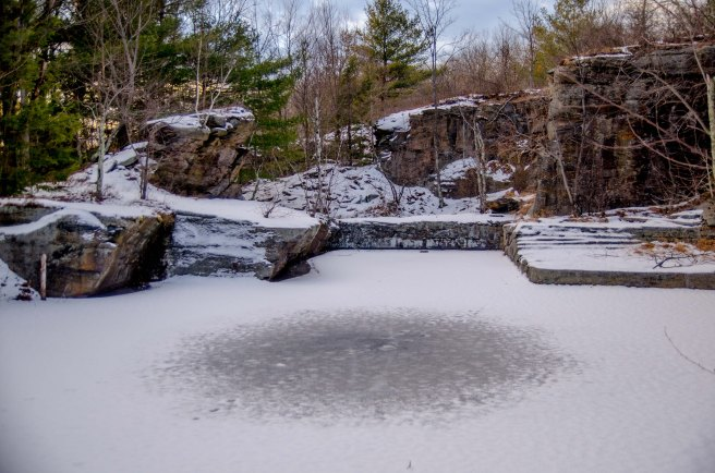 icy pond and rocks